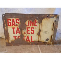 Porcelain Gasoline Taxes Antique Sign