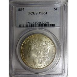 1897 MORGAN DOLLAR PCGS MS64