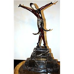Split Skirt - Bronze and Ivory Sculpture by Chiparus