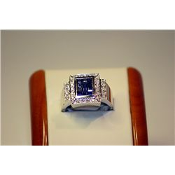 Men's 14 kt White Gold Blue Sapphire/Diamond Ring