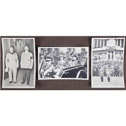 3 PHOTO POSTCARDS OF HITLER & MUSSOLINI FROM THE 1930'S