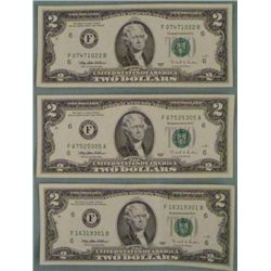 (3) 1995 $2 Bills Atlanta Notes -Uncirculated CU