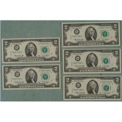 Lot 5 1976 CU $2 Dollar Bills Sequential Chicago Mint