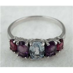 STERLING PLATINUM RING BLUE TOPAZ AMETHYST 2.10 CTW