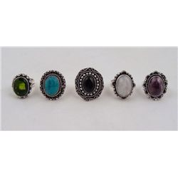 5 Sterling Rings Peridot Black Onyx Rainbow (Moonstone)