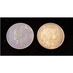 2 Uncirculated Early French 10 Centimes 1897 + 1900