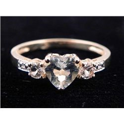 10K YELLOW GOLD HEART TOPAZ DIAMOND RING .90 CTW