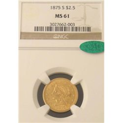 1875-S Gold $2.50 Coin NGC MS 61