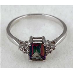 PLATINUM STERLING RING 1.2 CTW MYSTIC TOPAZ