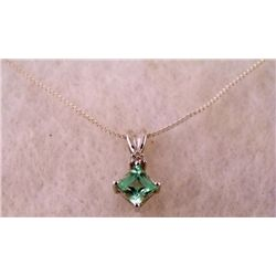 STERLING PLATED GREEN AMETHYST NECKLACE