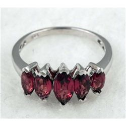 STERLING PLATINUM GARNET RING 2.2 CTW