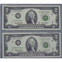 2 UNC F Mint Atlanta Star Notes 1995 &amp; 2003-A $2 Bills