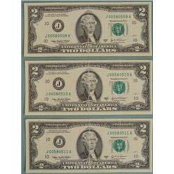 (3) 2003 A Consec # $2 Two Dollar Bills J Mint KC MO
