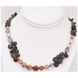 NATURAL 207.13 CTW MIXED SEMI- PRECIOUS STONE NECKLACE