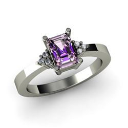 Genuine 0.61 ctw Amethyst Diamond Ring 14k