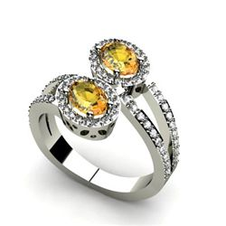 Citrine 1.23 ctw & Diamond Ring 14kt W/Y  Gold