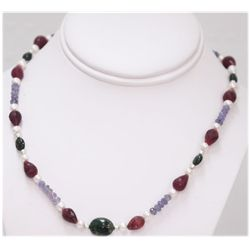 NATURAL 142.00 CTW RUBY PEARL TANZANITE AND SEMI PRECIO