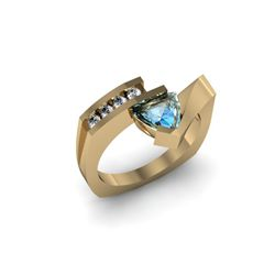 Genuine 0.79 ctw Topaz Trillion Diamond Ring 14k