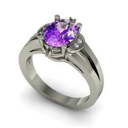 Genuine 1.31 ctw Amethyst Diamond Ring W/Y Gold 14kt