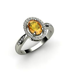 Citrine 1.50 ctw & Diamond Ring 14kt W/Y  Gold