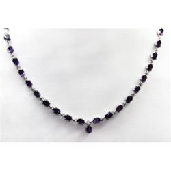 NATURAL 24.00 CTW AMETHYST NECKLACE .925 STERLING SILVE