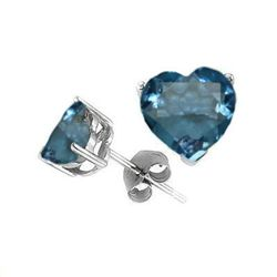 Natural 2.10 ct Blue Topaz Heart Earrings .925 Sterling