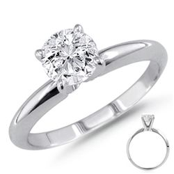 0.75 ct 14K White Gold Solitare Round Ring G-H VS