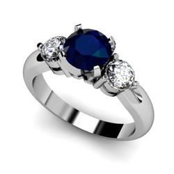 Genuine 1.75 ctw Sapphire Diamond Ring W/Y Gold 14kt