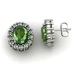 Genuine 2.90 ctw Green Tourmaline Diamond Earring 14k