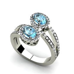 Aqua Marine 1.13 ctw & Diamond Ring 14kt W/Y  Gold