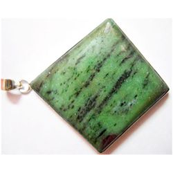 Natural 16.99g Green Ruby Square .925 Sterling Pendant