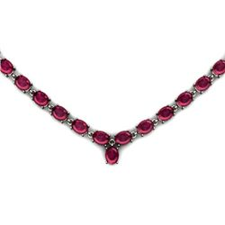 NATURAL 45.00 CTW RUBY NECKLACE .925 STERLING SILVER
