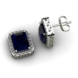 Genuine 3.80 ctw Sapphire Diamond Earring 14k W/Y Gold