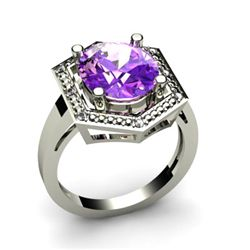 Genuine 4.58 ctw Amethyst Diamond Ring W/Y Gold 14kt