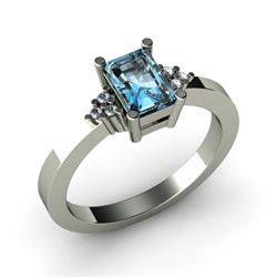 Genuine 0.56 ctw Aqua Marine Diamond Ring 14k