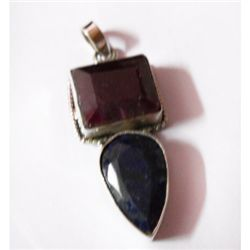 Natural 50.90 ctw Ruby/Sapphire Pendant .925 Sterling