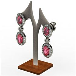 Garnet 3.90 ctw Diamond Dangling Earring 14k W/Y Gold