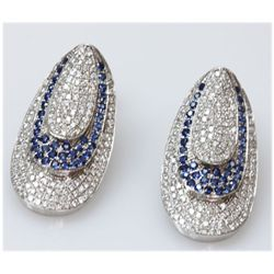 14K WHITE GOLD OVAL EARRING WITH DIAMONDS