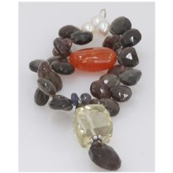 NATURAL 64.75 CTW MIXED- SEMI-PRECIOUS PENDANT .925 STE