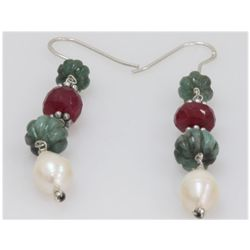 NATURAL 30.90 CTW PEARL RUBY AND SEMI-PRECIOUS EARRINGS