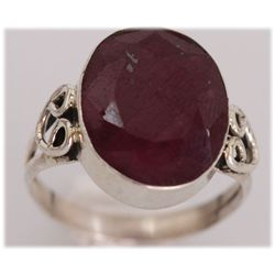 NATURAL 29.25 CTW RUBY OVAL RING .925 STERLING SILVER