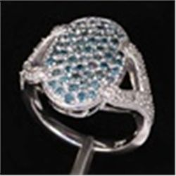 Blue & White Diamond Ring in 10K White Gold