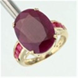 Genuine Ruby Ring in 10K Yellow Gold