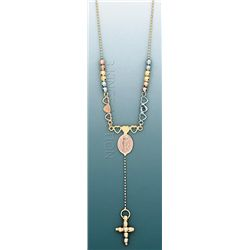 LIGHT FANCY Necklace 17in. 4.7 grs 14kt 3tone Gold w/ d