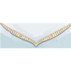 VILLAS & BOLAS Necklace 17in. 16.3 grs 14kt 3tone Gold