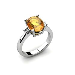 Citrine 2.40 ctw Diamond Ring 14kt White Gold