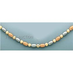 FANCY DESIGN Necklace 18in. 8 grs 14kt 3tone Gold