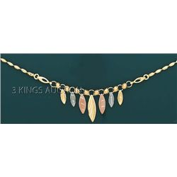 FANCY NECKLACES 17in. 9.2 grs 14kt 3tone Gold