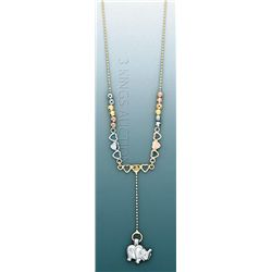 LIGHT FANCY Necklace 17in. 4 grs 14kt 3tone Gold w/ des