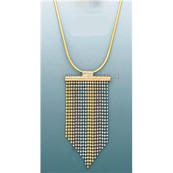DANGLING DESING Necklace 17in. 7.2 grs 14kt 3tone Gold